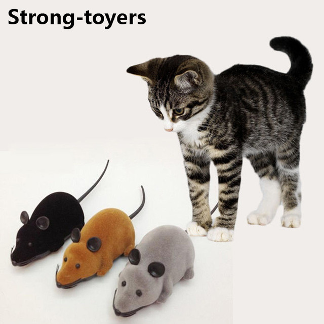 Strong-Toyers Colorful Funny Pet Cat mice Toy Wireless Electronic RC Gray Rat Mice Toy Remote Control mouse kids toys