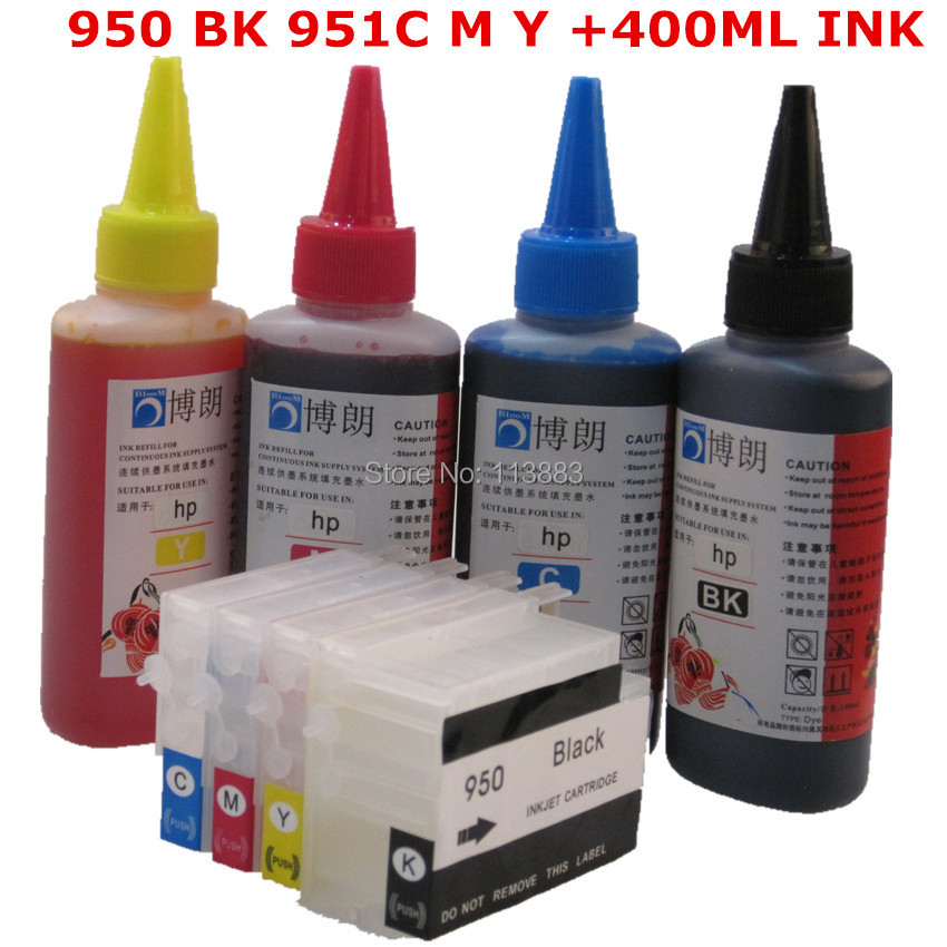 BLOOM compatible 950 951 Refillable ink cartridge for HP Officejet Pro 8100 8600 8630 8610 8620 8680 8615 + for hp Dey ink 400ML compatible for hp 950xl for 951xl for hp950 ink cartridge 950 951 officejet pro 8600 8610 8615 8620 8630 8625 8660 8680 printer