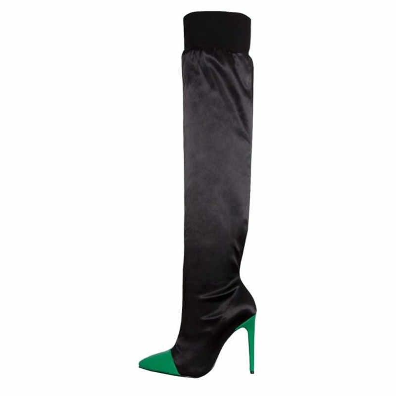 MORAZORA 2019 ใหม่มาถึงเข่ารองเท้าผู้หญิงสีผสมเซ็กซี่ stiletto รองเท้าส้นสูงรองเท้าสุภาพสตรียืดถุงเท้าสีดำ
