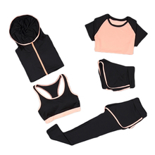 Women Sportswear Sets 5pcs Tracksuit For Legging Quick Dry Fitness Gym Clothing Womens Outdoor Sports Set 8036