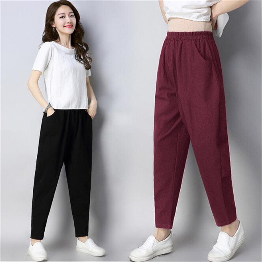 MLCRIYG New large size women's casual wear elastic waist trousers