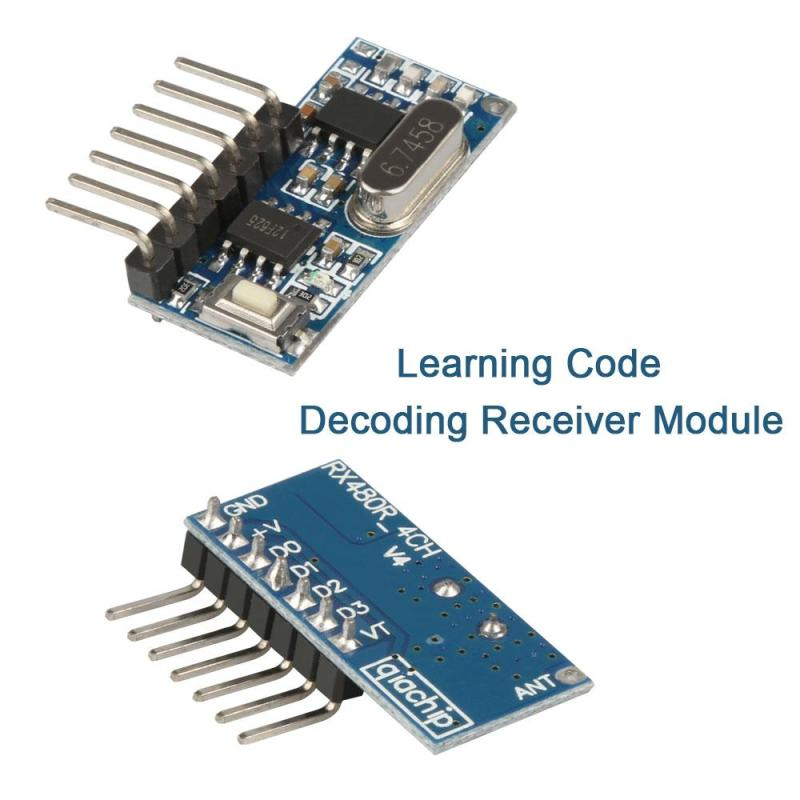 5pcs 433mhz Wireless Receiver Code Decoder Module 4 Ch output Diy With Learning Button For Remote Switch Control 1527 encoding