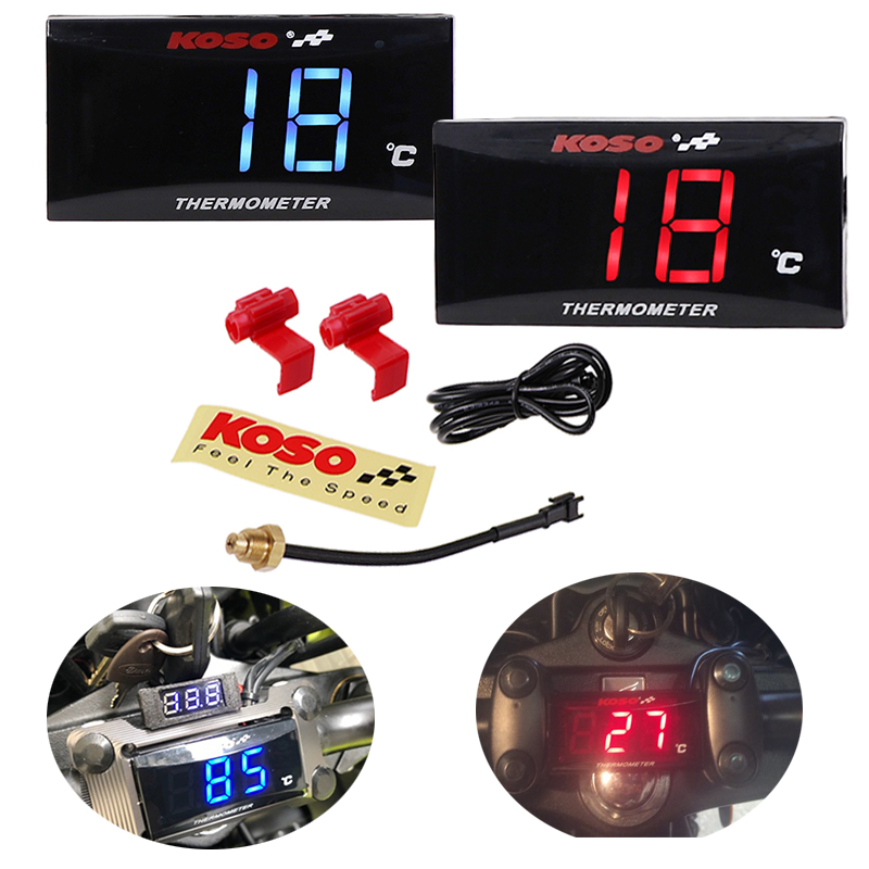 Blue LED Motorcycle Scooter LCD Water Thermometer Water Temperature Gauge Meter