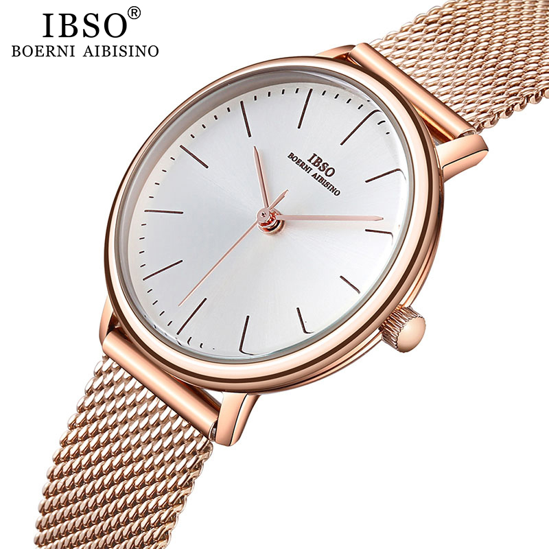 IBSO Women's Quartz Watches Rose Gold Ultra Thin Stainless Steel Mesh Strap Quartz Clock Hours Ladies Simple Relogio Masculino