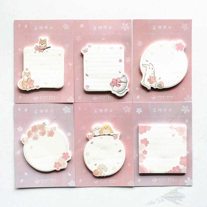 1 Pack 30 Pages Fresh Sakura Cat Dog Bird Rabbit Memo Pads Sticky Notes Stick Label School Office Supply Student Stationery
