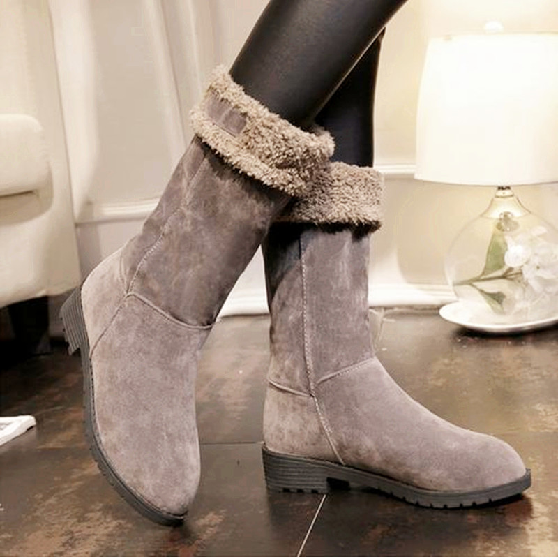 10..The 2016 Australia boots women Korean students winter boots plus Suede thick cotton sheepskin round knee high heel boots