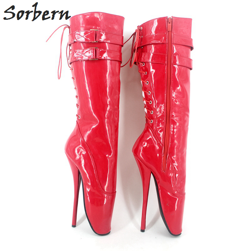 Sorbern New 18CM High Heel Stilleto Heel Sexy Red Women Boots Knee High Pointed Toe Ballet Boots Sexy Fetish BootsSorbern New 18CM High Heel Stilleto Heel Sexy Red Women Boots Knee High Pointed Toe Ballet Boots Sexy Fetish Boots