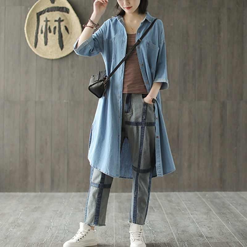 Китайский стиль женские топы лето 2019 Модная рубашка Harajuku ретро винтажная рубашка джинсовая длинная рубашка платье Женские китайские Топы TA1634