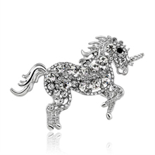 New 5 Colors Running Horse Unicorn Brooches Enamel Alloy Crystal Animal Brooch Pin for Women Wedding Gift Fashion Jewelry