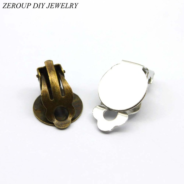 Zeroup 10mm 12mm 10pcs Silver Ear Clips Earring Settings Base Cameo Cabochon Tray Supplies For Jewelry