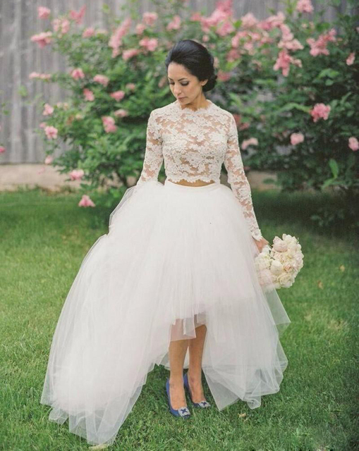 e1452bfd2b7921 2016 Two Pieces Wedding Dresses With Long Sleeve Lace Crop Top Tulle  Asymmetrical Skirts Bridal Gowns For Garden Wedding Party