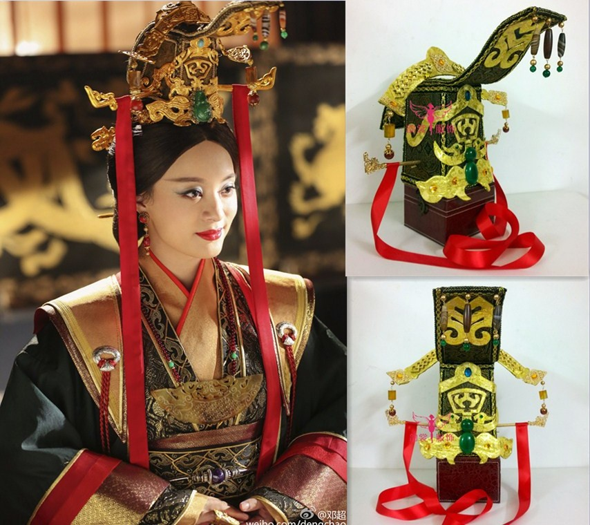 2 designs Ancient Qin Dynasty Gorgeous Empress Hair Tiaras Handmade Headwear for Women TV Play Legend of Empress MiYue 03 red gold bride wedding hair tiaras ancient chinese empress hat bride hair piece
