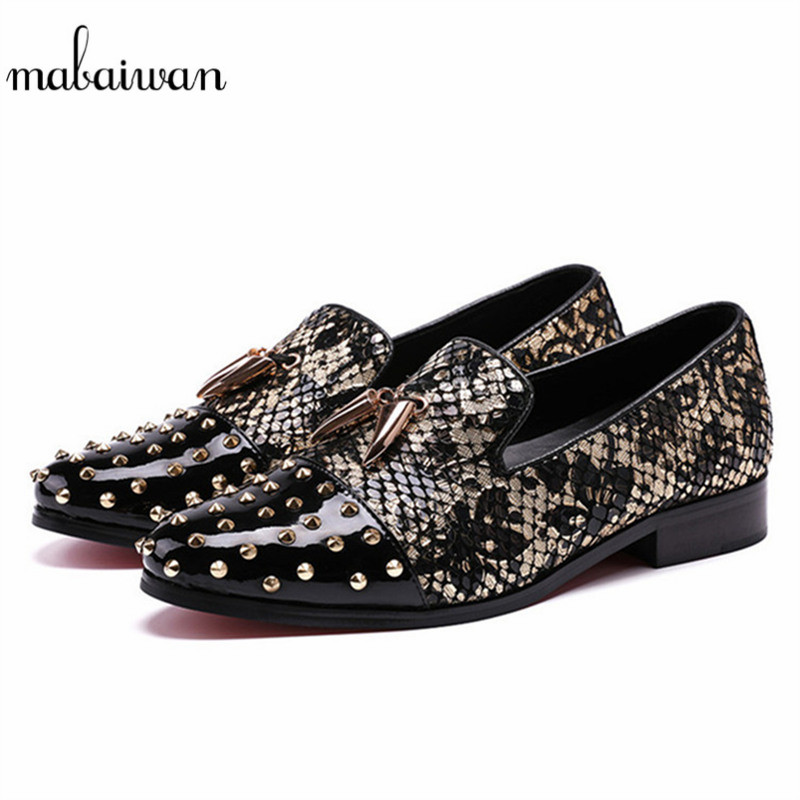 Mabaiwan Fashion Black Men Loafers Rivets Slipper Glitter Party Wedding Dress Casual Shoes Men Slip On Handmade leather Flats mabaiwan italy casual men shoes snakeskin leather loafers fashion slipper wedding dress shoes men slip on handmade party flats