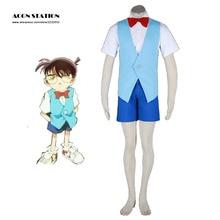 2016 New Fashion Detective Conan-Conan 2th Cotton Polyester Cosplay Costume For Halloween  Party  Musical groo vs conan