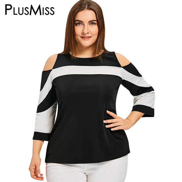 5ab7bf2df5c PlusMiss Plus Size 5XL Color Block Patchwork Cold Shoulder Tops Tee Women Clothing  Big Size Tunic T-shirt Ladies Summer T Shirt