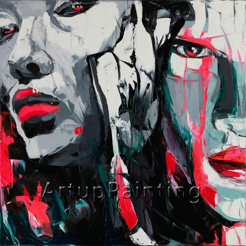 Portrét paletového nože portrét Paletový nůž Face Oil painting - Dekorace interiéru