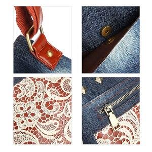 Image 4 - Floral Lace Denim Womens Shoulder Bags with Rivets Fashion Purse Bag Jeans Denim Crossbody Bags Women Messenger Bags