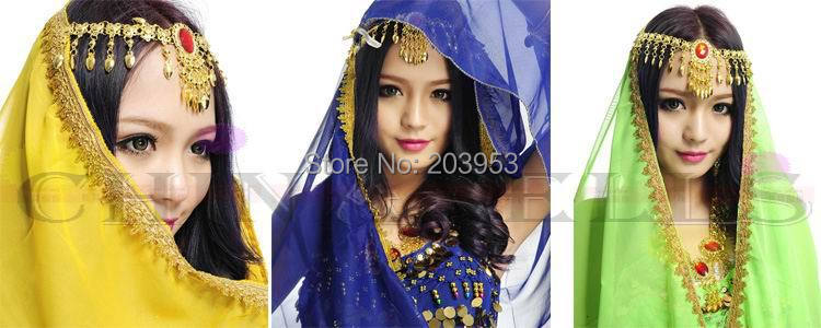 9pcs lady chiffon belly dance sari Jewel tiara veil Indian dance headdress head chain cosplay scarf kerchief fascinator fashion bride headdress feathers dance show headdress covered the face veil party hat headdress hairpin headwear