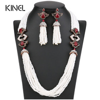 New Arrivals African Beads Jewelry Set 2017 Nigerian Wedding Engagement Necklace Earring For Women Handmade Indian