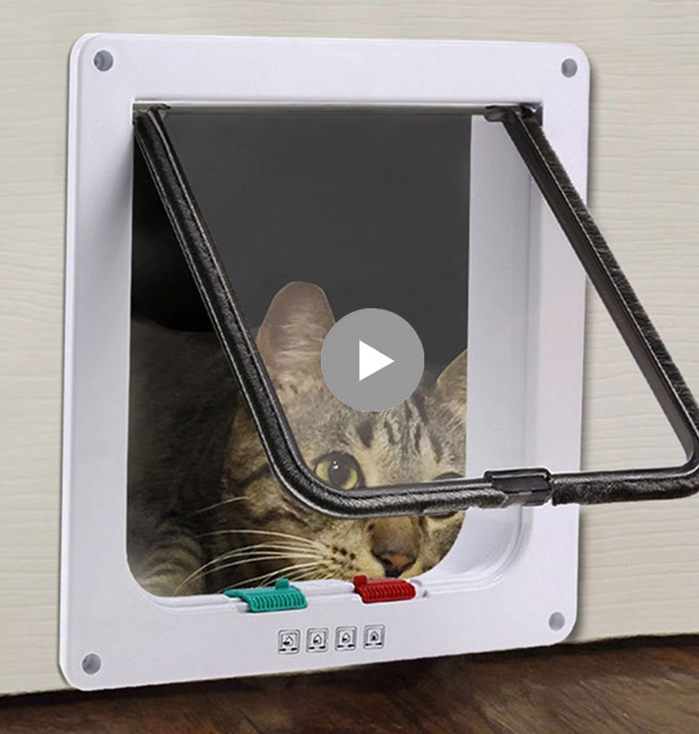 Interior Magnetic Pet Screen Door Pet Cat Flap Door with 4 Way Lock Hatch Puppy Dog Supplies Lock Lockable Safe Telescopic Frame ...