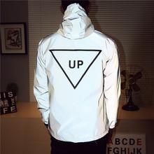hiphop windbreaker Men jacket casual  reflective tide brand men and women lovers coat hooded fluorescent clothing