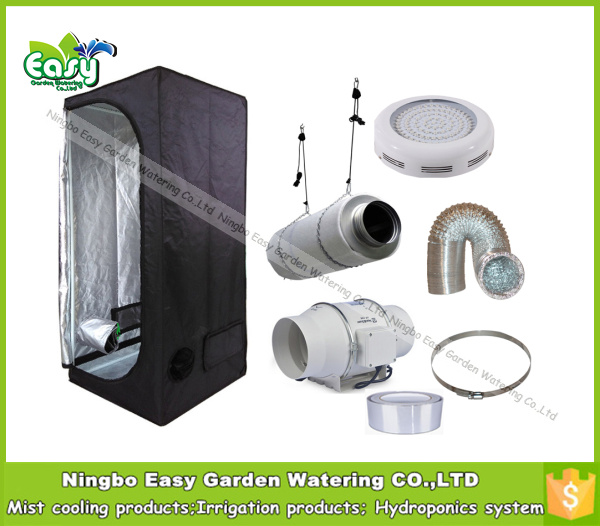 Complete indoor grow tent kits with 50W LED grow light and ventilation equipment.Size 2'x2'x5'. 60X60X140CM.Free Shipping