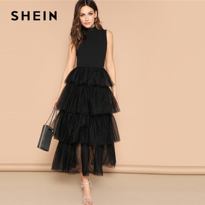 SHEIN glamour noir mixte médias couches contraste maille à volants longue robe élégante col montant sans manches 2019 printemps robes