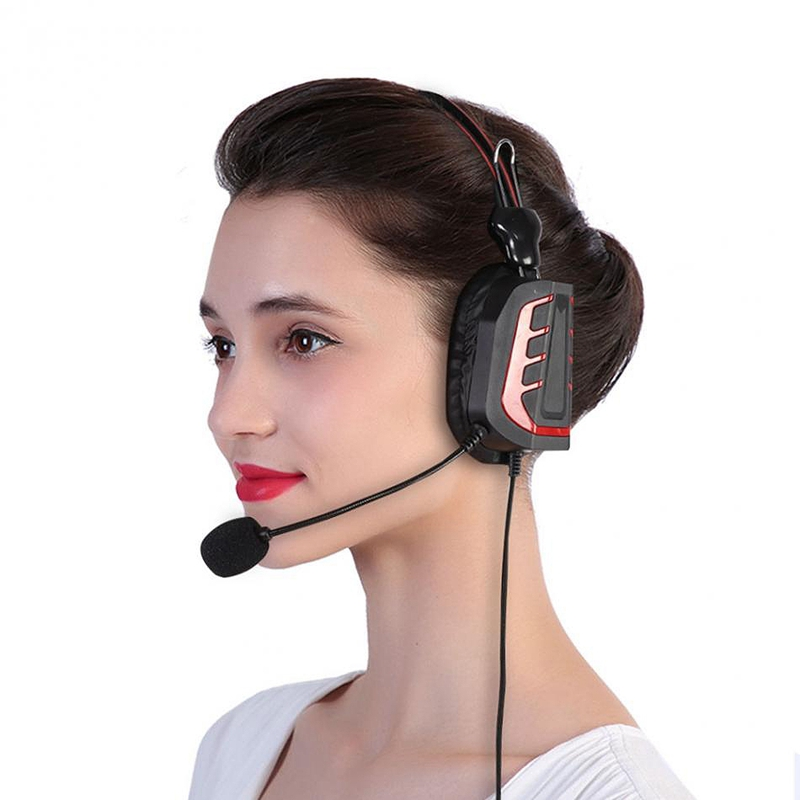 Headset Earpiece Mic Over Head Headphone Flexible Mic K Plug Volume Control For Walkie Talkie With Ptt Button Single