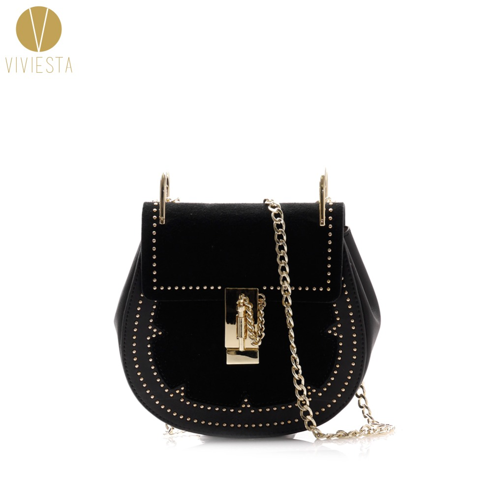 GENUINE LEATHER SUEDE STUDDED SADDLE BAG - Women s 2018 Punk Rivet Famous Fashion  Brand Shoulder Crossbody 26cb0c4695203
