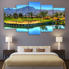 Artryst HD Printed 5 Piece Canvas Art Mountain Golf Course Painting Lake Wall Pictures for Living Room Decor jcyg-762