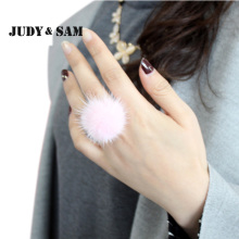 2017 Fashion Fur Jewelry Mink Fur Pompom Women Adjustable Size Silver Ring Real Fur Accessories 11 Colors Top Female