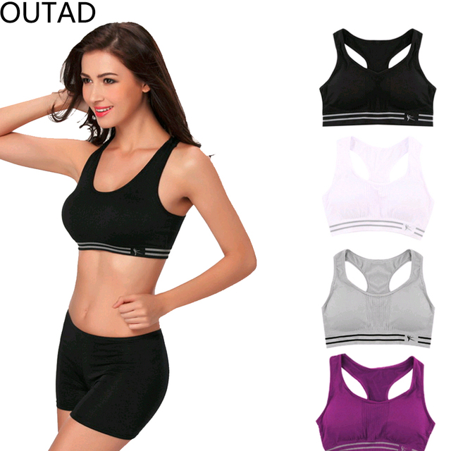 8891e549e4 New Summer Style Women Cotton Stretch Athletic Vest Gym Fitness Sports Bra  no rims Full Cup
