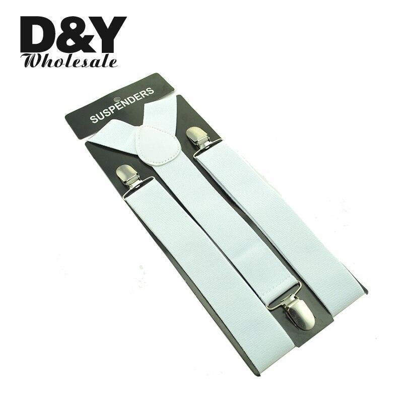 Free shipping-Mens Unisex Clip-on Braces Elastic Suspender 3.5cm Wide White Suspenders/gallus Wholesale & Retail