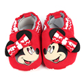 2017 Cotton Fabric Baby Girls Shoes H Red Blue Children Moccasins Rubber Sole Cartoon Bow Kids Boys Toddler Mickey Mouse Shoes