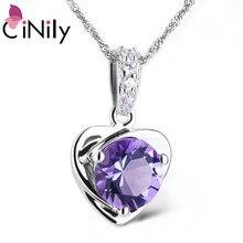 82d86a066c66 CiNily corazón colgante relleno encantos sólido 925 Plata de Ley violeta  Lila amor colgantes coreano totalmente joyas regalos mu.