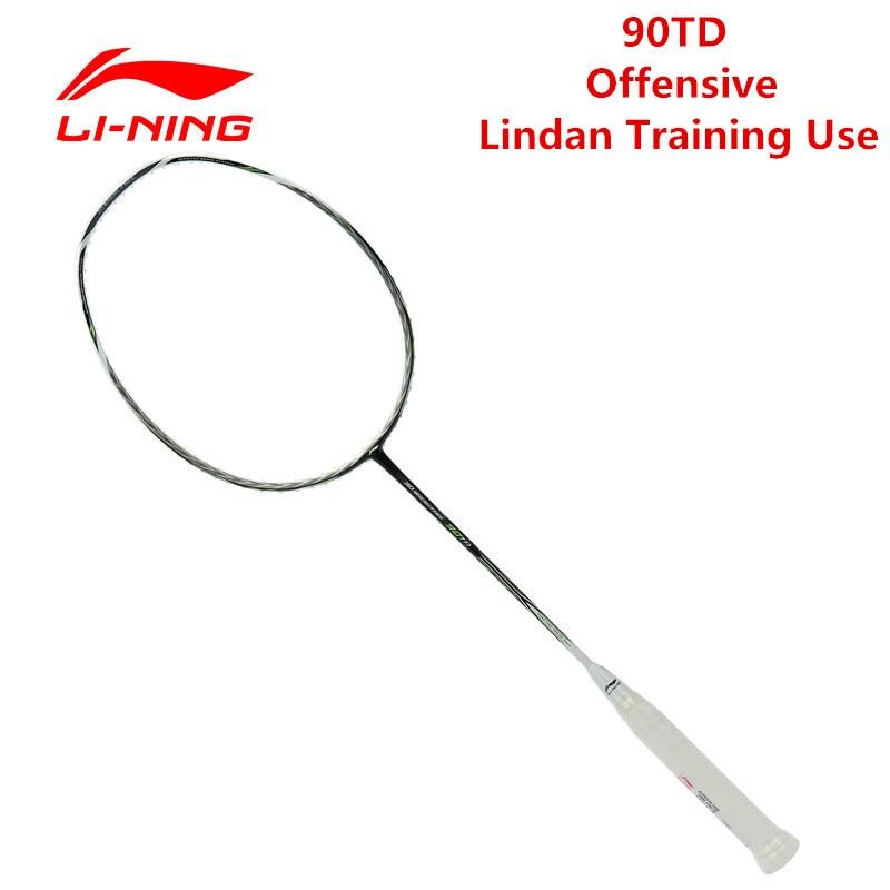 Li-Ning 90TD Badminton Racket White Green Nano Carbon Fiber Li Ning Ball Control Racquet Sports AYPK016 Slightly Soft Free Grip