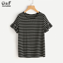 Dotfashion Frilled Sleeve Black Striped Tee 2017 Summer Round Neck T-shirt With Ruffle Ladies Short Sleeve Casual Shirt