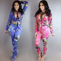 Fashion rompers womens jumpsuit 2017 new arrivals spring long sleeve v-neck skinny Digital printing 2 piece bodycon jumpsuit