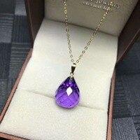 shilovem 18k yellow piezoelectric amethyst Pendants fine Jewelry women trendy no necklace classic new gift 13*16mm mymz1316033z