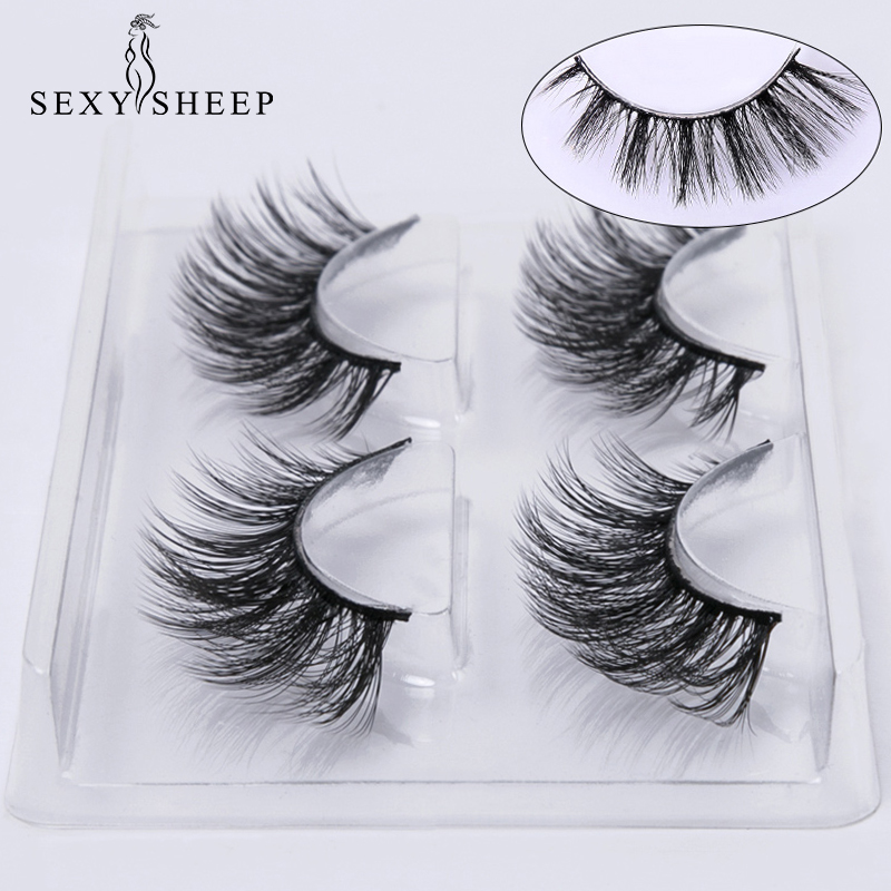 SEXYSHEEP 2 pairs natural false eyelashes fake lashes makeup kit 3D Mink Lashes eyelash extension mink eyelashes maquiagem-in False Eyelashes from Beauty & Health