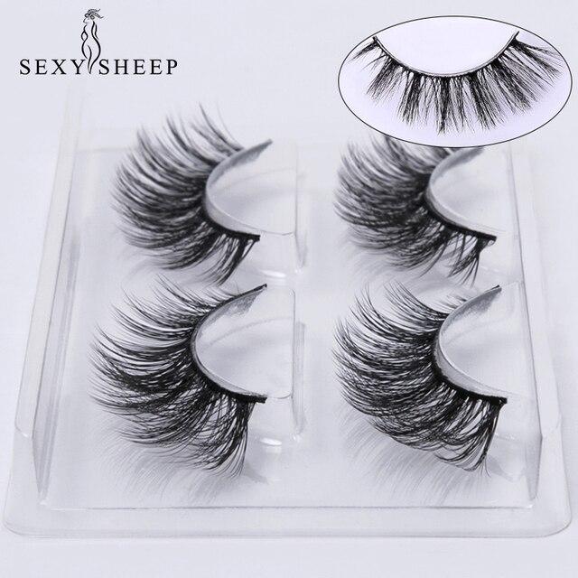 SEXYSHEEP 2 pairs natural false eyelashes fake lashes makeup kit 3D Mink Lashes eyelash extension mink eyelashes maquiagem