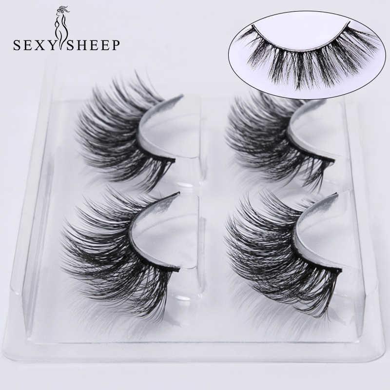 5810c1dc546 SEXYSHEEP 2 pairs natural false eyelashes fake lashes makeup kit 3D Mink Lashes  eyelash extension mink