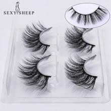 Sexysheep 2 pares naturais cílios postiços falsos kit de maquiagem 3d vison cílios extensão vison cílios maquiagem