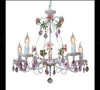 Free Shipping Modern White European Chandelier Lamp Lustre Light 3L 5L 8L Pink Rose Flower Light