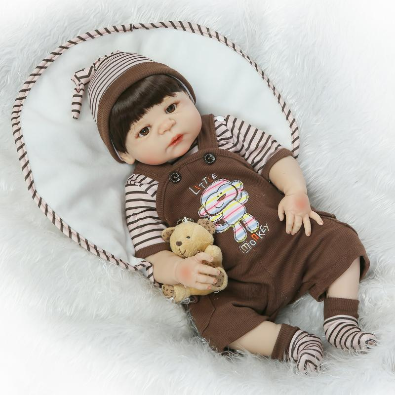 Handmade Full Silicone Vinyl Reborn Newborn Baby Doll 23 Inch Realistic Babies Brown Boy Brinquedo Bebe Kids Gifts Bonecas top quality baby shoes genuine leather handmade baby moccasins lace up bebe newborn plaid baby boy first walkers