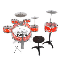 Children Kids Drum Set Musical Instrument Toy 6 Drums with Small Cymbal Stool Drum Chair Christmas Gift for Boys Girls