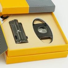 COHIBA Metal Cigar Lighter Cutter Set 3 Torch Jet Flame Buta