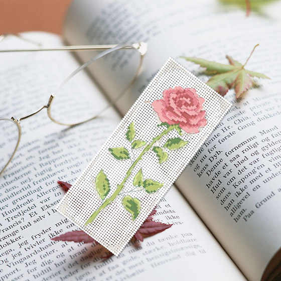 DIY Craft Stich Cross Stitch Bookmark Flower Plastic Fabric Needlework Embroidery Crafts Counted Cross-Stitching Kit
