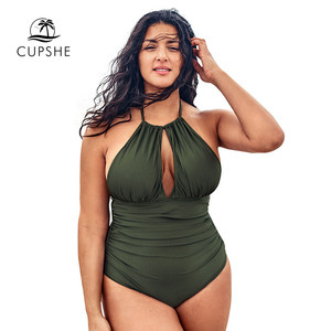 Image 3 - CUPSHE Plus Size Olive Halter One Piece Swimsuit Sexy Cut out Backless Lace Up Women Monokini Bathing Suits 2020 Beach Swimwear