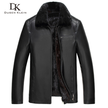 Mink Fur leather jacket for men Genuine sheepskin Mink fur liner Fur collar thickness winter Outerwear Black Dusen Klein 61D1844